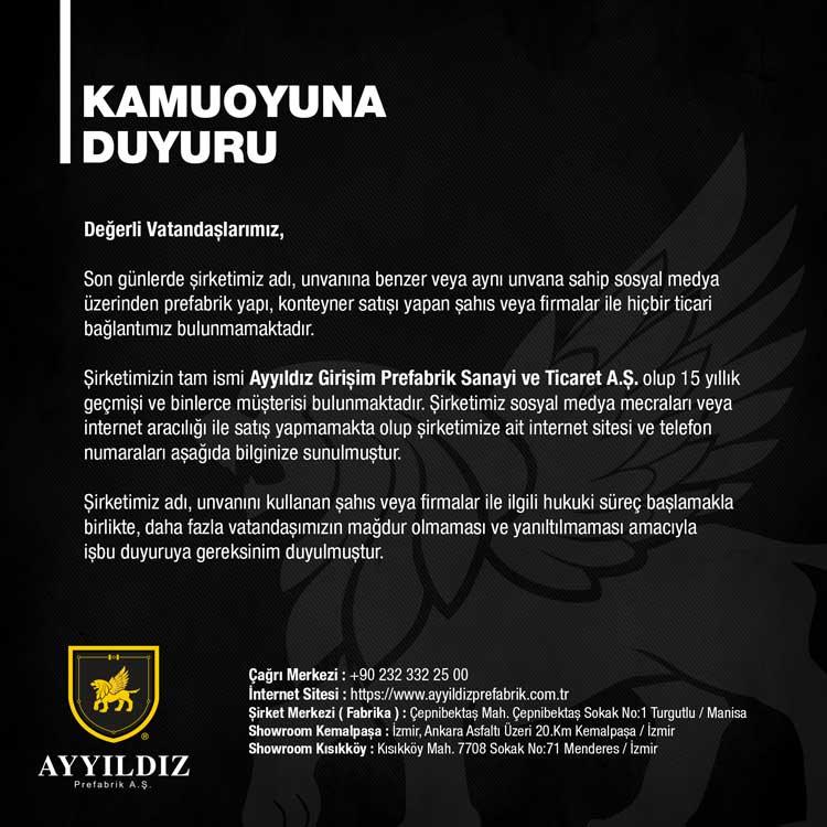 Kamuoyuna Duyuru