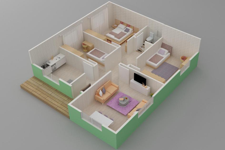 85m2 Prefabrik Ev Plan