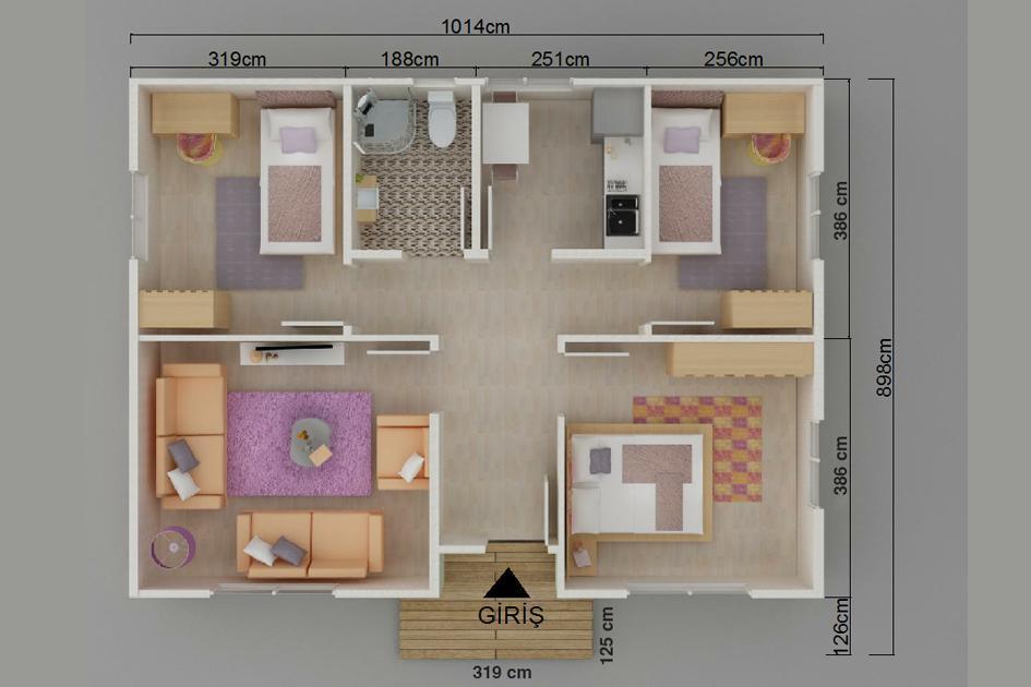 81m2 Prefabrik Ev Plan