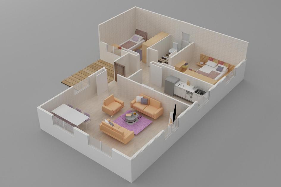 93m2 Prefabrik Ev Plan