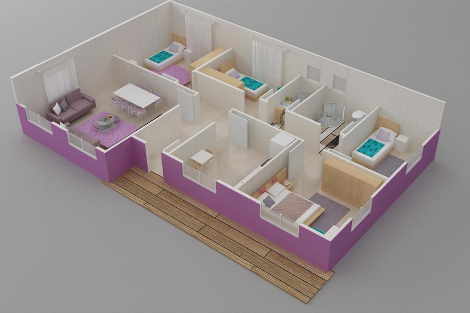 125m2 Prefabrik Ev Plan