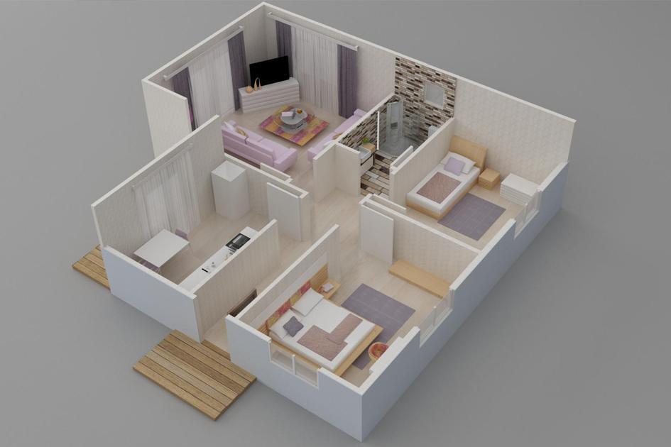 77m2 Prefabrik Ev Plan