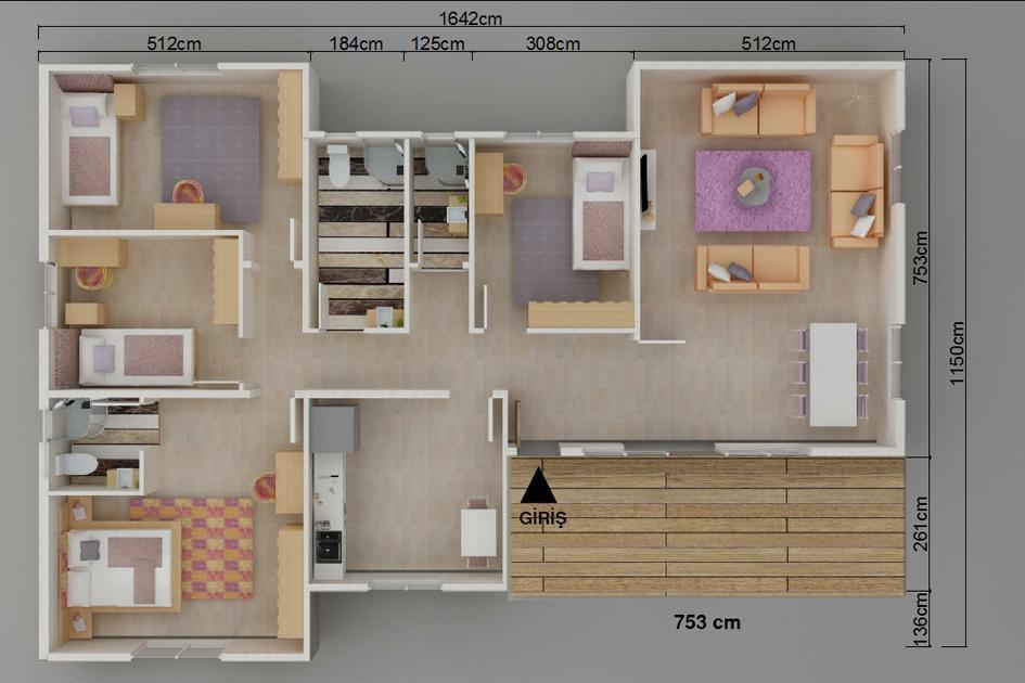 166m2 Prefabrik Ev Plan