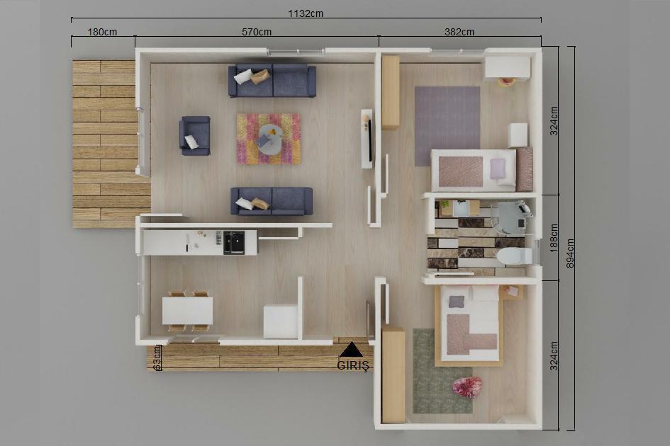 80m2 Prefabrik Ev Plan