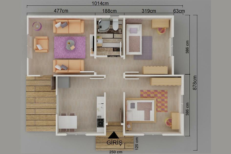72m2 Prefabrik Ev Plan