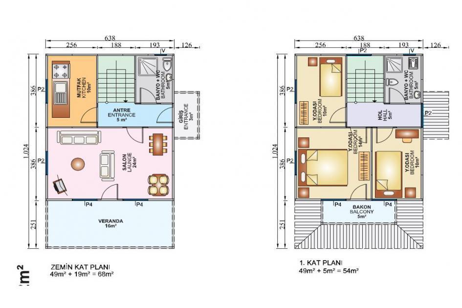 122m2 Dubleks Prefabrik Ev Plan