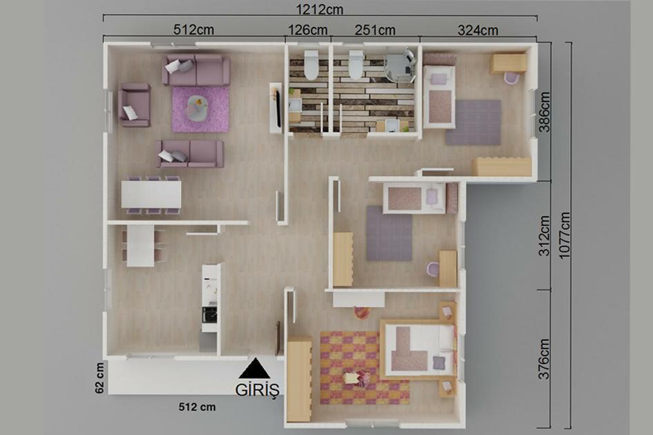 113m2 Prefabrik Ev Plan