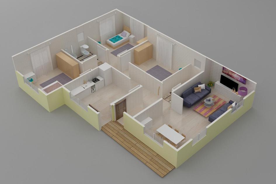 124m2 Prefabrik Ev Plan