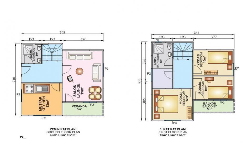 105m Dubleks Prefabrik Ev Plan