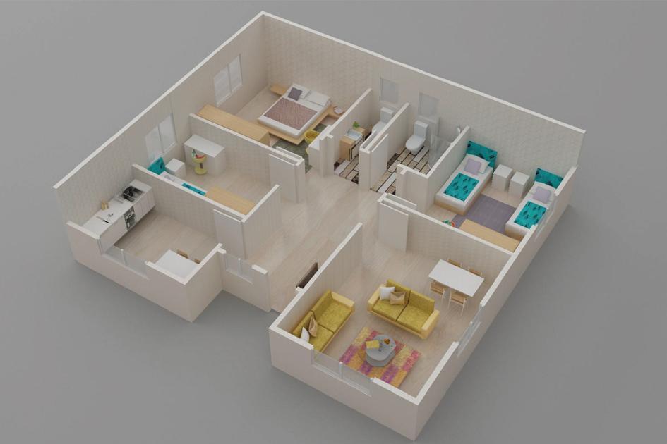 96m2 Prefabrik Ev Plan