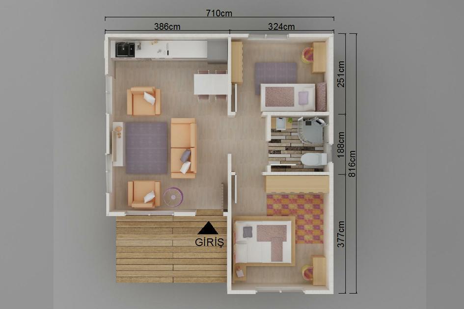 49m2 Prefabrik Ev Plan