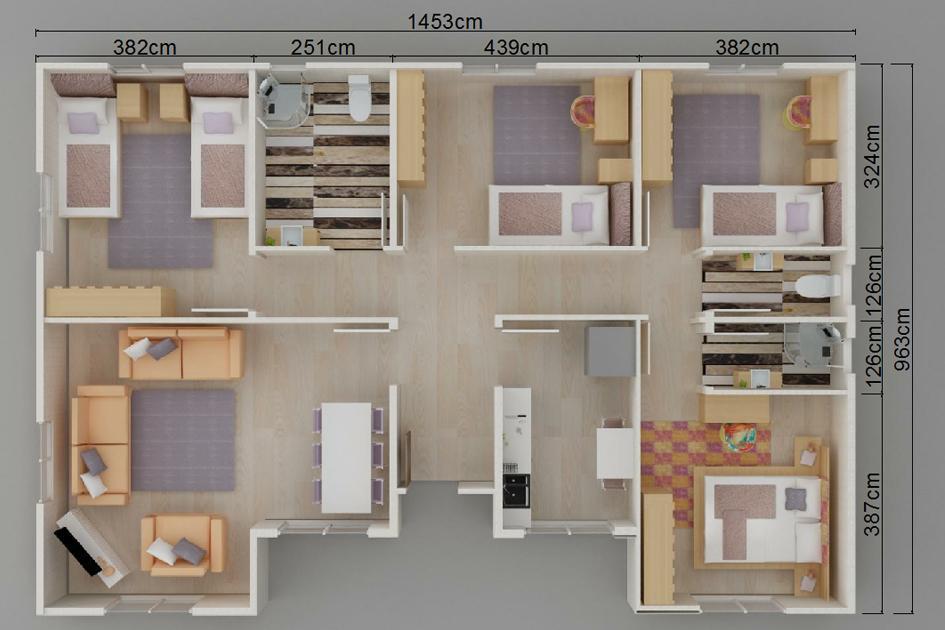 129m2 Prefabrik Ev Plan