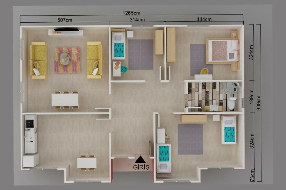 109m2 Prefabrik Ev Plan